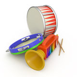Tambourine, fife and drum. Tambourine, fife, drum and two drumstick, 3D Royalty Free Stock Image