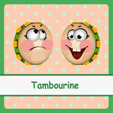Tambourine, funny characters on a light background Stock Photo
