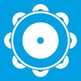 Tambourine icon white Royalty Free Stock Photos