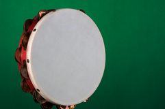 Tambourine Isolated on Green Stock Image
