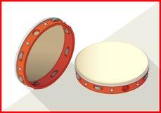 Tambourine isometric perspective view flat Stock Image