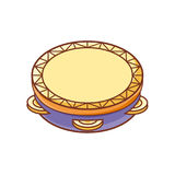 Tambourine. Musical instrument for kid. Baby toy. Cartoon style Royalty Free Stock Photos