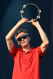 Tambourine player of James (British rock band from Manchester) Royalty Free Stock Photos