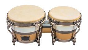 Tambours de bongo d'isolement sur un fond blanc images libres de droits