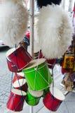 Tambours et chapeaux géorgiens traditionnels faits de laine du ` s de moutons Photo stock