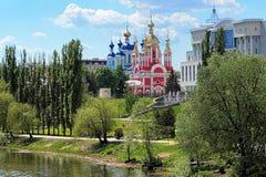 Tambov, argine del fiume di Tsna, Russia fotografia stock