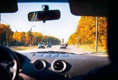 View of the route through the front glass of the car. Royalty Free Stock Photo