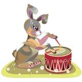 Tamburi del coniglietto del fumetto in un tamburo Fotografia Stock