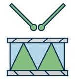 Tamburi, icona isolata di vettore degli strumenti di musica per il partito e celebrazione illustrazione vettoriale