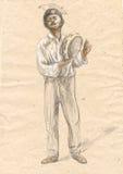 Tamburin-Spieler Eine Hand gezeichnete lebensgroße Illustration, Ursprung Lizenzfreies Stockbild