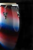 Tamburo bianco e blu rosso del Conga Immagini Stock Libere da Diritti