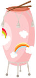 Tamburo con i bastoni del tamburo su bianco illustrazione vettoriale