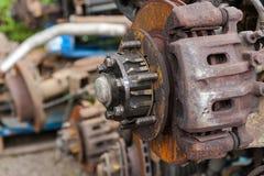 Tamburo del freno arrugginito dell'automobile Immagine Stock
