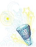 Tamburo disegnato a mano della mano Fotografia Stock