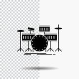 tamburo, tamburi, strumento, corredo, icona musicale di glifo su fondo trasparente Icona nera illustrazione di stock