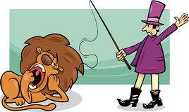Tamer and bored lion cartoon Royalty Free Stock Image