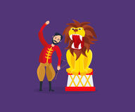 Tamer entertains the audience, showing dangerous, amazing tricks with lion. Circus concept. Tamer in traditional clothes, entertains the audience, showing vector illustration