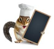 Tamia divertente con la lavagna vuota del menu della tenuta del cappello del cuoco del cuoco unico Fotografia Stock