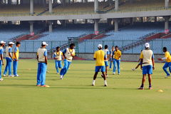 Tamil Nadu Domestic Cricket. The Tamil Nadu team practices before their Ranji Trophy match against Delhi at the Feroz Shah Kotla stadium in Delhi Royalty Free Stock Photo