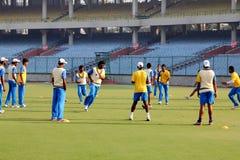Tamil Nadu Domestic Cricket. The Tamil Nadu team practices before their Ranji Trophy match against Delhi at the Feroz Shah Kotla stadium in Delhi royalty free stock photo