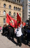 Tamil Supporters with Flags and Bullhorn Stock Photography