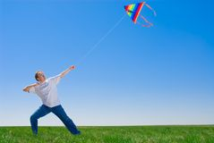 Taming of a kite Royalty Free Stock Photography