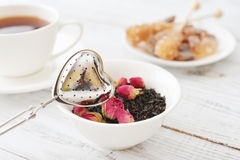 Tamis de thé et bourgeons roses Photos libres de droits