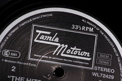 Tamla Motown. Bracknell, England, UK - March 10, 2014: Close up of a vinyl record and the Tamla Motown label on March 10th, 2014. Motown was founded by Berry royalty free stock photos
