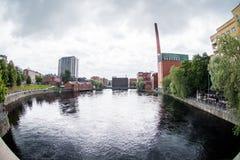 从Tammerkoski桥梁看见的Tammerkoski 免版税库存图片