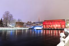 Tammerkoski hydroelectric plant light up Royalty Free Stock Photography