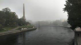 Tammerkoski on misty morning Stock Images