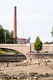 Tammerkoski dried out for renovations stock images