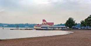 Tammisaari harbour, Finland. Pier and sand beach in Tammisaari harbour after summer rainstorm. Finland stock photo