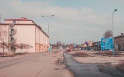 Tammisaari Raasepori在有熔化在一个春日的雪的芬兰 免版税库存图片