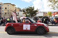Tammy Huang, founder Joao Anacleto, rides in the Los Angeles Chinese New Year Parade royalty free stock photography