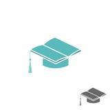 Tampão acadêmico quadrado do barrete e de logotipo, de universidade ou de faculdade do livro sinal Imagens de Stock Royalty Free