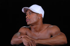 Tampão branco desgastando do homem. Fotos de Stock Royalty Free