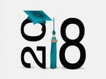 Tampão da graduação da cerceta no preto para 2018 Imagem de Stock Royalty Free