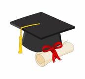 Tampão da graduação com diploma Fotografia de Stock Royalty Free