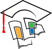 Tampão da graduação com livros ilustração do vetor
