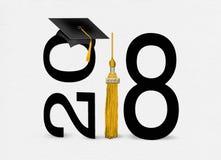 Tampão 2018 da graduação do preto com borla do ouro Imagens de Stock