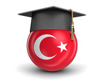 Tampão da graduação e bandeira turca Fotos de Stock