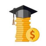 Tampão da graduação no dinheiro ilustração stock