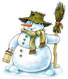 Tampão da vassoura do inverno do boneco de neve do boneco de neve feito malha Fotos de Stock Royalty Free