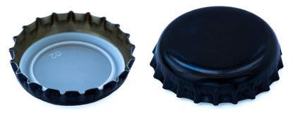 Tampão de garrafa preto isolado do metal ambos os lados Imagens de Stock