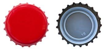 Tampão de garrafa vermelho do metal - ambos os lados Fotos de Stock Royalty Free