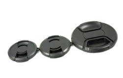 Tampão de lente preto isolado da câmera Imagens de Stock Royalty Free