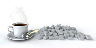 tampão do café 3d na tabela com um açúcar em um fundo do wihte Fotografia de Stock