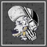 Tampão do lobo do estilo do Grunge e arma vestindo guardar ilustração do vetor