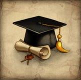 Tampão e diplo da graduação ilustração royalty free